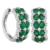 18kt White Gold Womens Round Emerald Diamond Double Row Hoop Earrings 4.00 Cttw