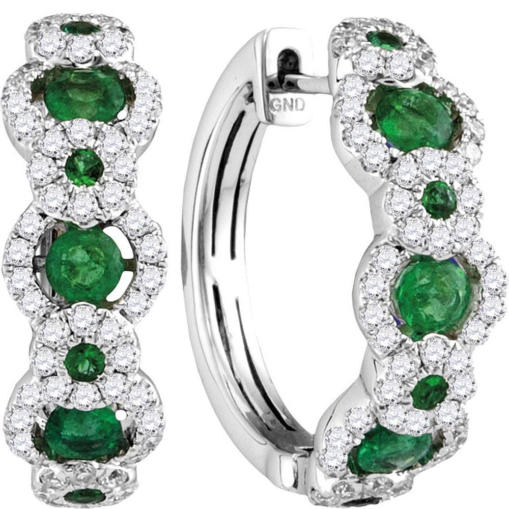 18kt White Gold Womens Round Emerald Diamond Hoop Earrings 5/8 Cttw