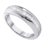 14kt White Gold Mens Princess Channel-set Diamond Wedding Band Ring 1/2 Cttw