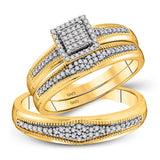 10kt Yellow Gold His Hers Round Diamond Cluster Matching Wedding Set 1/3 Cttw