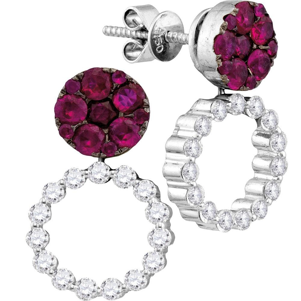 18kt White Gold Womens Round Ruby Diamond Convertible Dangle Jacket Earrings 2-1/4 Cttw