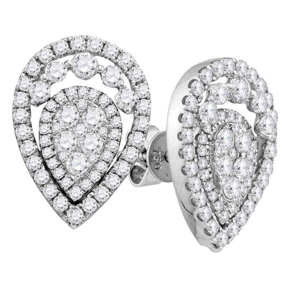 18kt White Gold Womens Round Diamond Convertible Teardrop Dangle Jacket Earrings 1-3/8 Cttw