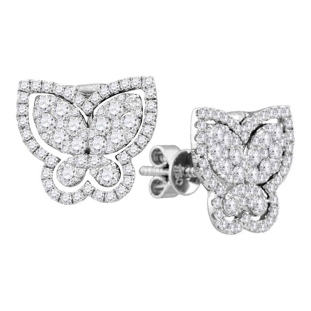 18kt White Gold Womens Round Diamond Butterfly Bug Stud Earrings 1-1/4 Cttw