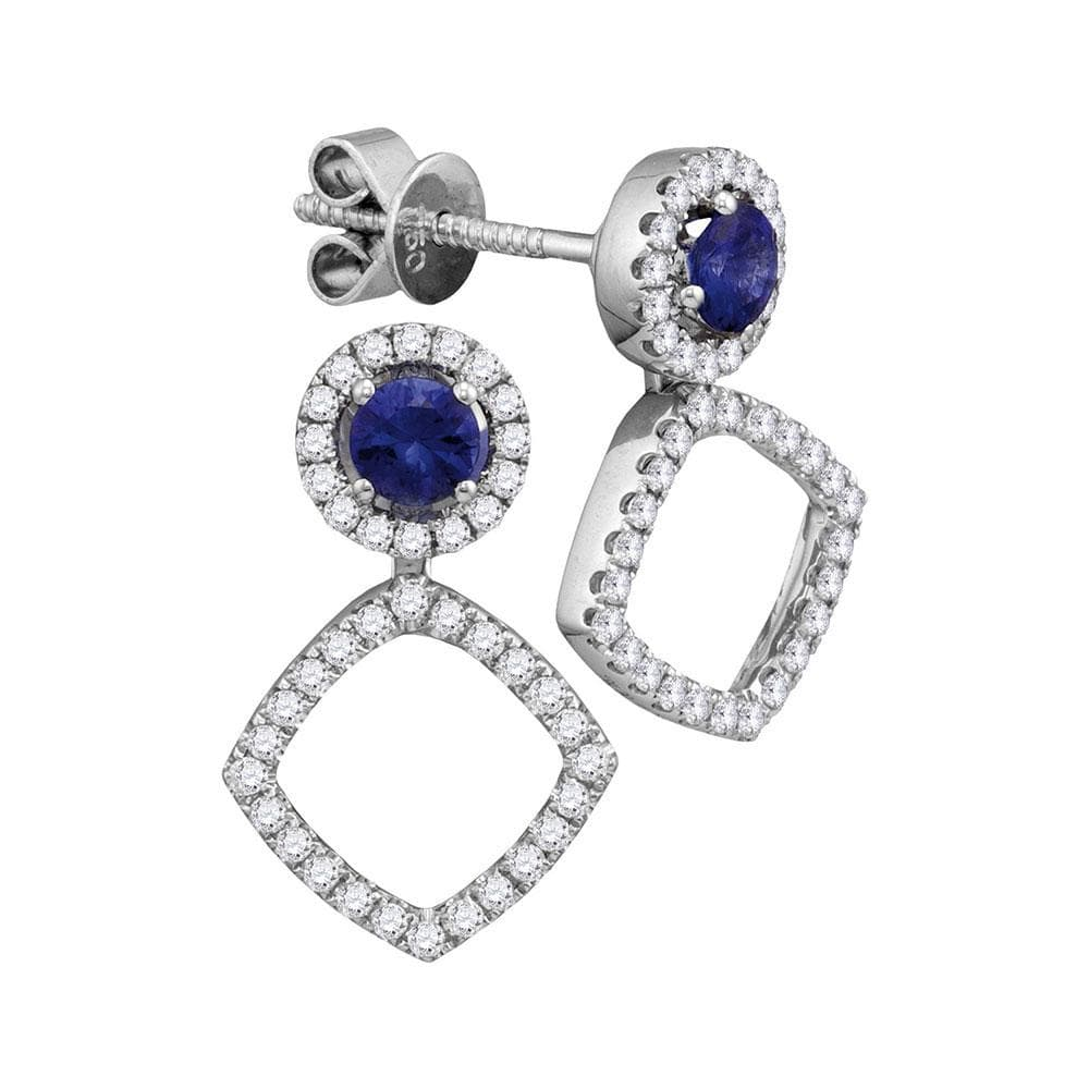 18kt White Gold Womens Round Blue Sapphire Convertible Square Dangle Jacket Earrings 7/8 Cttw