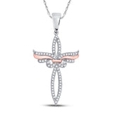 10kt White Gold Womens Round Diamond Rose-tone Cross Religious Pendant 1/5 Cttw
