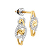10kt Yellow Gold Womens Round Diamond Swirl Cluster Stud Screwback Earrings 1/8 Cttw