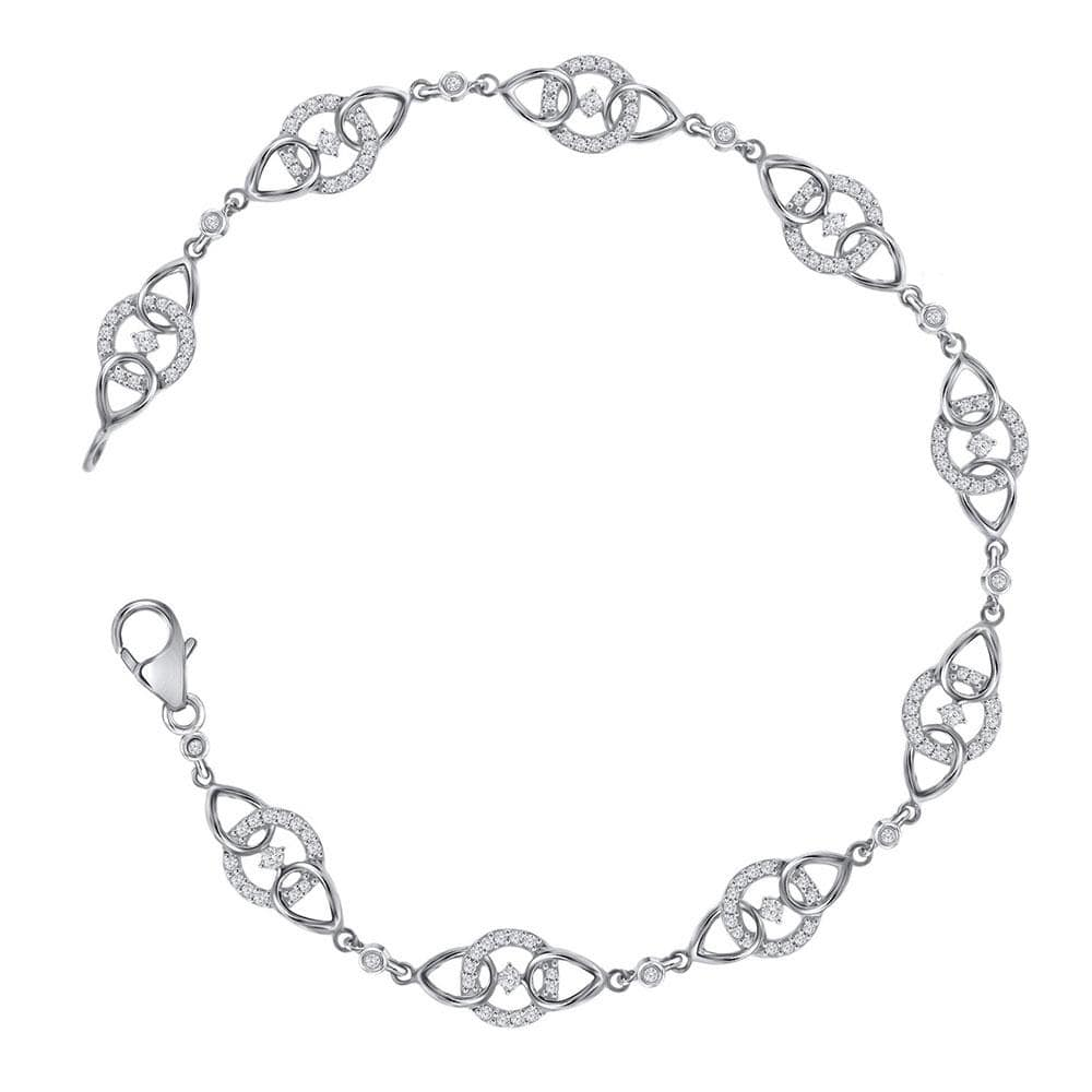 10kt White Gold Womens Round Diamond Linked Circle Fashion Bracelet 1/2 Cttw