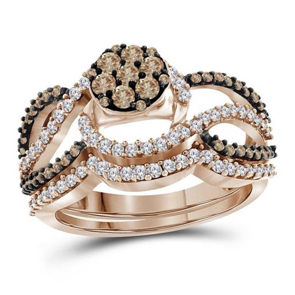 10kt Rose Gold Womens Round Brown Color Enhanced Diamond Cluster Bridal Wedding Engagement Ring Band Set 1.00 Cttw