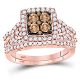 10kt Rose Gold Womens Round Brown Color Enhanced Diamond Bridal Wedding Engagement Ring Band Set 1.00 Cttw