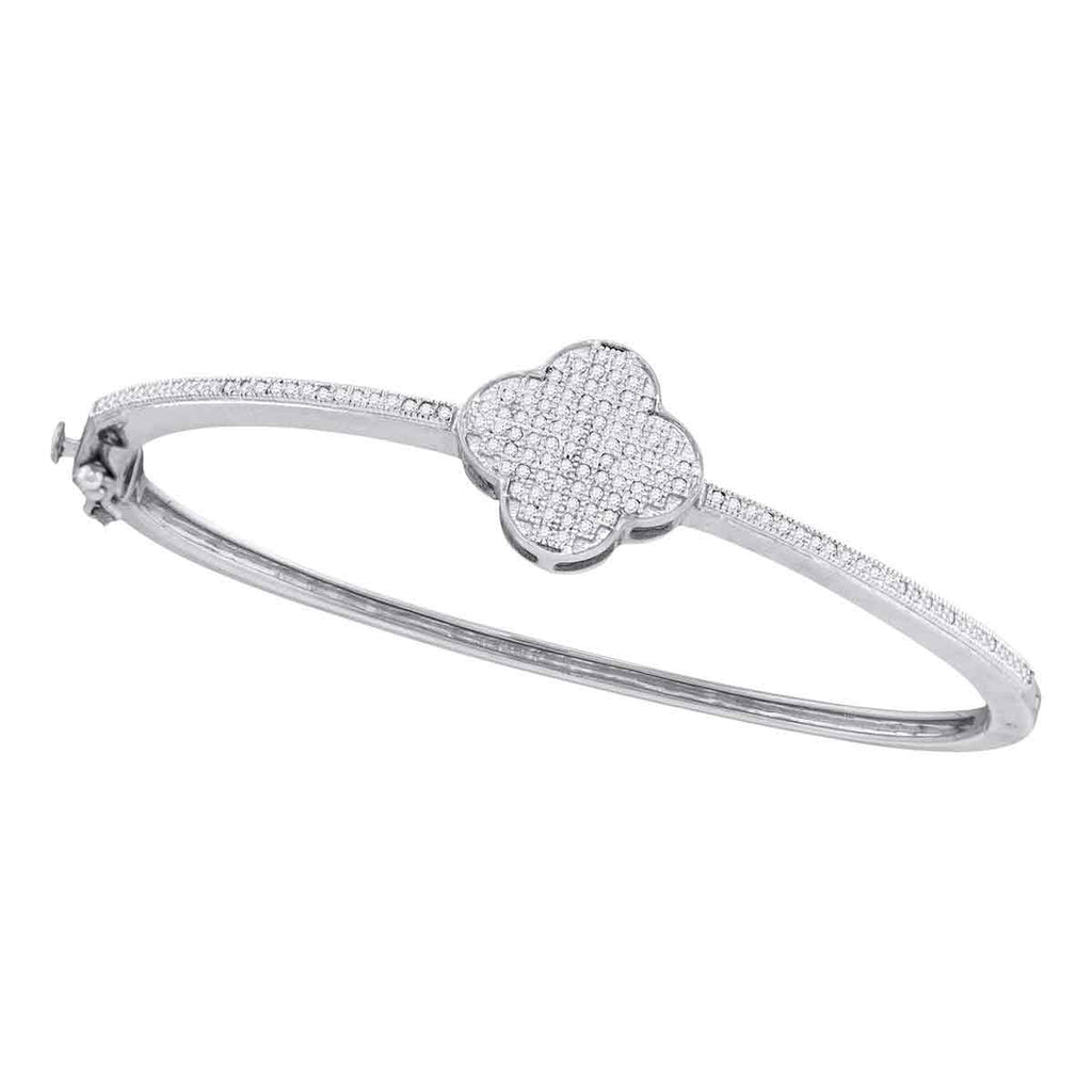 10kt White Gold Womens Round Diamond Quatrefoil Cluster Bangle Bracelet 3/8 Cttw