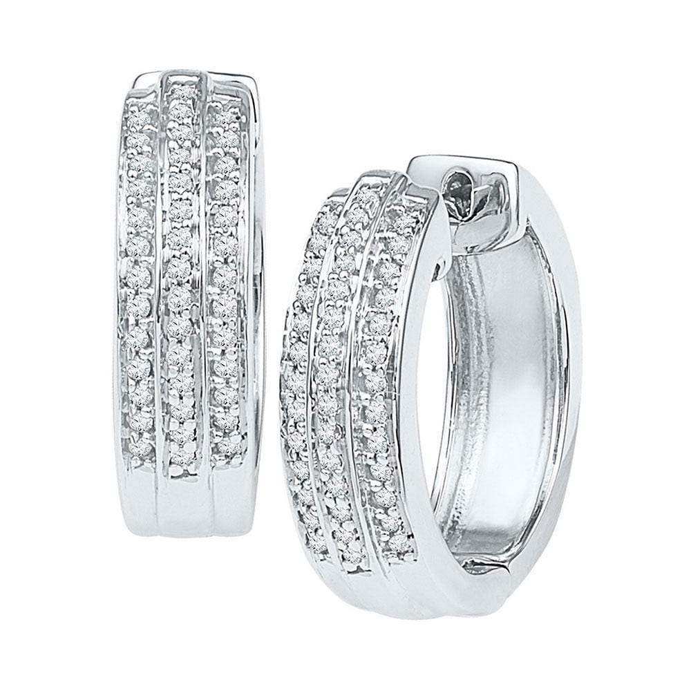 10kt White Gold Womens Round Diamond Triple Row Huggie Earrings 1/4 Cttw