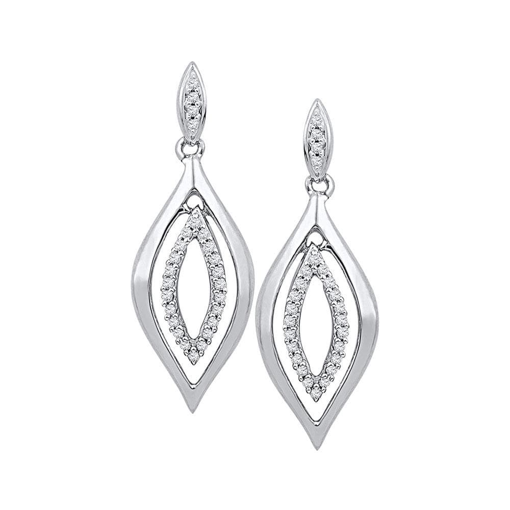 10kt White Gold Womens Round Diamond Double Oval Dangle Screwback Earrings 1/6 Cttw