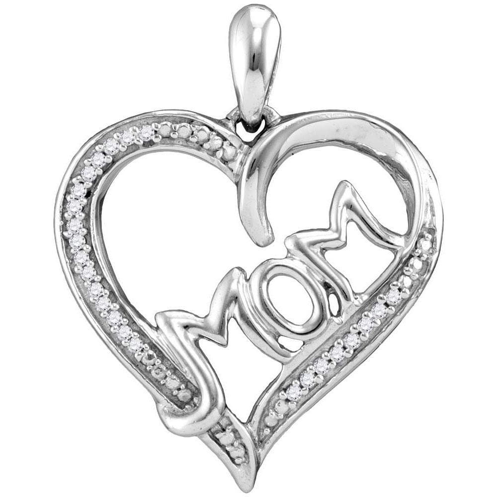 Sterling Silver Womens Round Diamond Heart Mom Mother Pendant 1/12 Cttw