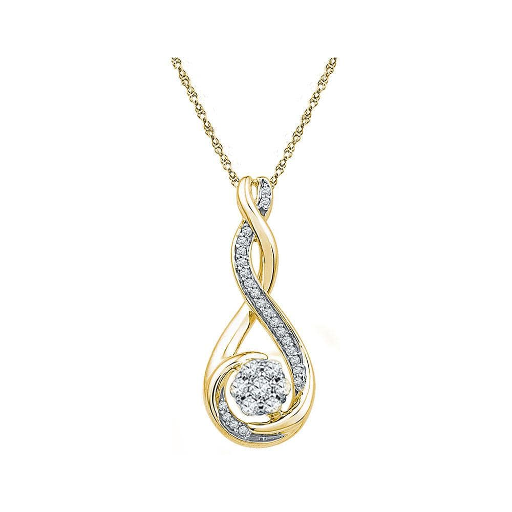 10kt Yellow Gold Womens Round Diamond Cradled Cluster Pendant 1/4 Cttw