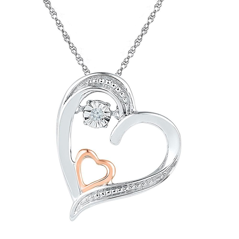 10kt Two-tone Gold Womens Round Diamond Double Heart Moving Twinkle Pendant .01 Cttw