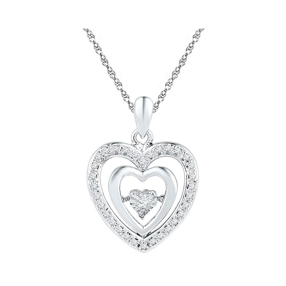 Sterling Silver Womens Round Diamond Heart Moving Twinkle Pendant 1/10 Cttw
