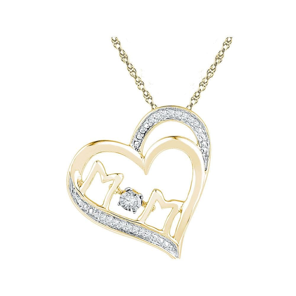 10kt Yellow Gold Womens Round Diamond Moving Twinkle Mom Heart Pendant 1/20 Cttw