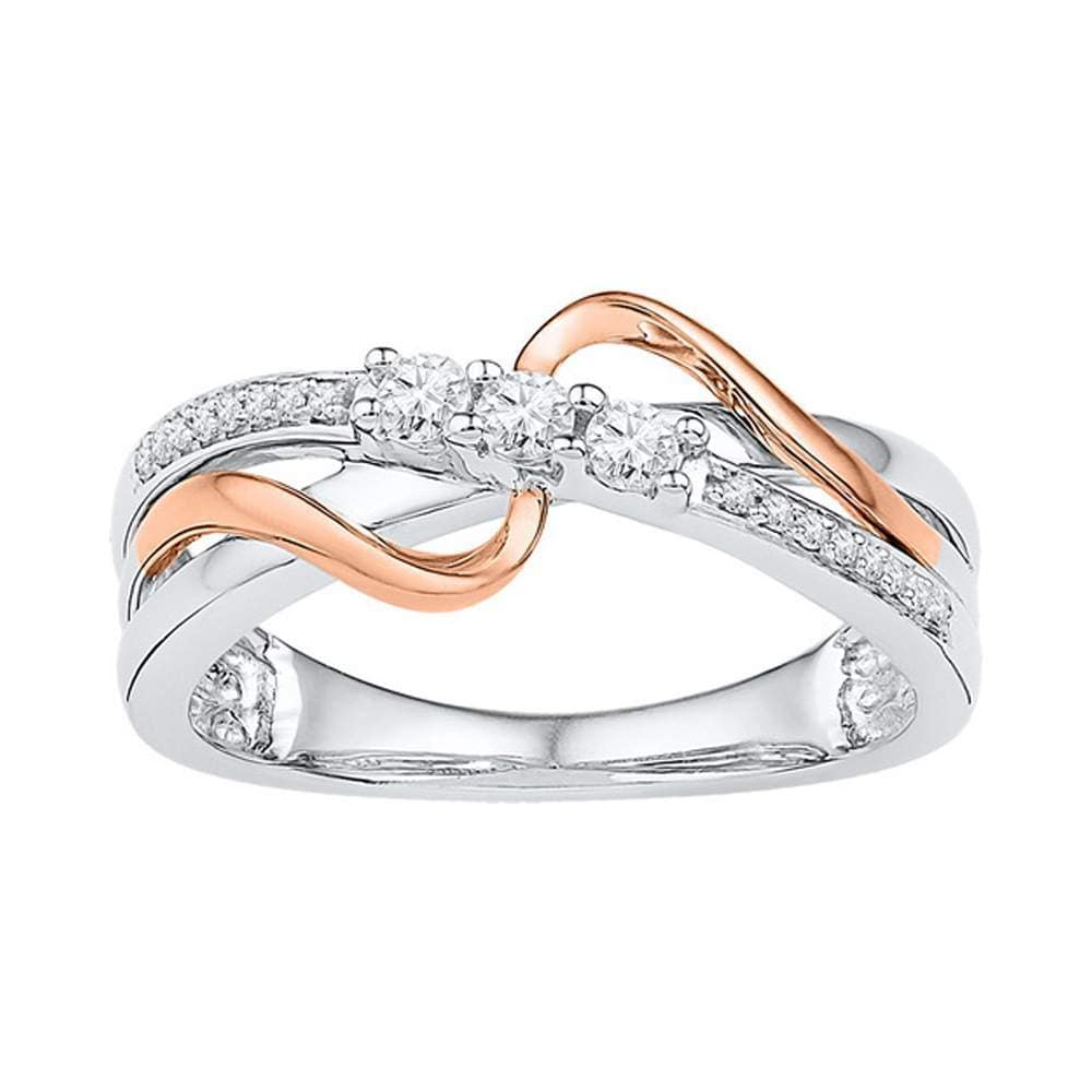 10kt Two-tone Gold Womens Round Diamond 3-stone Crossover Band Ring 1/5 Cttw