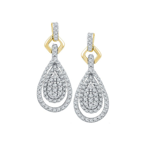 10kt Yellow Gold Womens Round Diamond Teardrop Cluster Dangle Earrings 1/2 Cttw