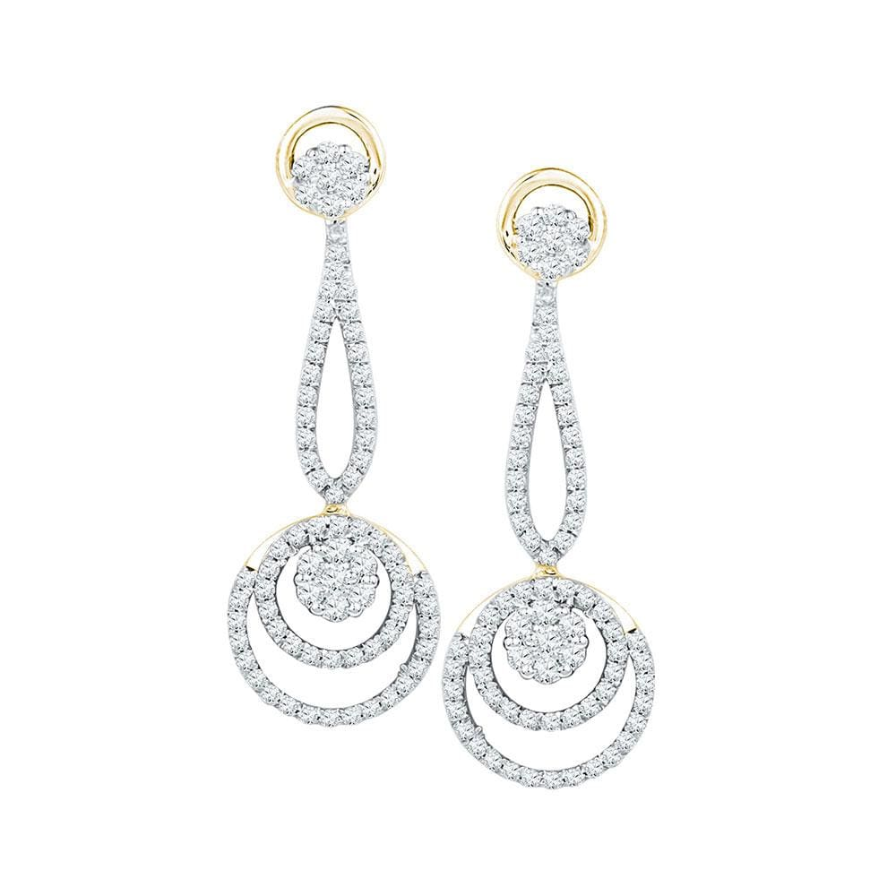 10kt Yellow Gold Womens Round Diamond Circle Cluster Dangle Earrings 1.00 Cttw