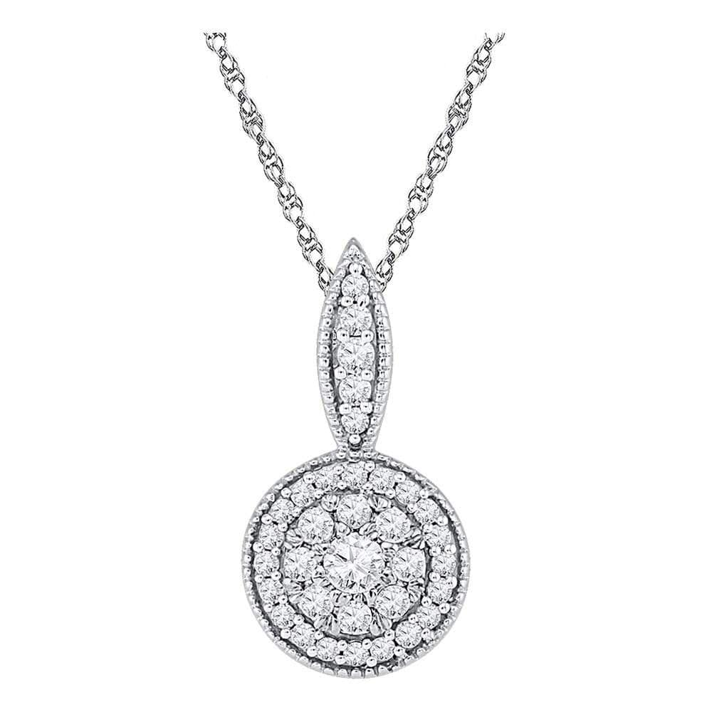 10kt White Gold Womens Round Diamond Circle Frame Flower Cluster Pendant 1/3 Cttw