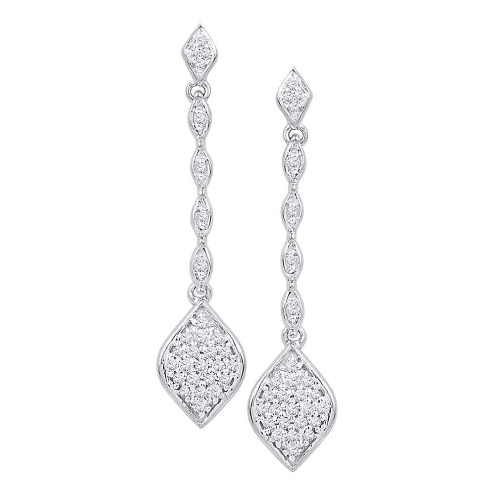 10kt White Gold Womens Round Diamond Cluster Drop Dangle Earrings 1/4 Cttw
