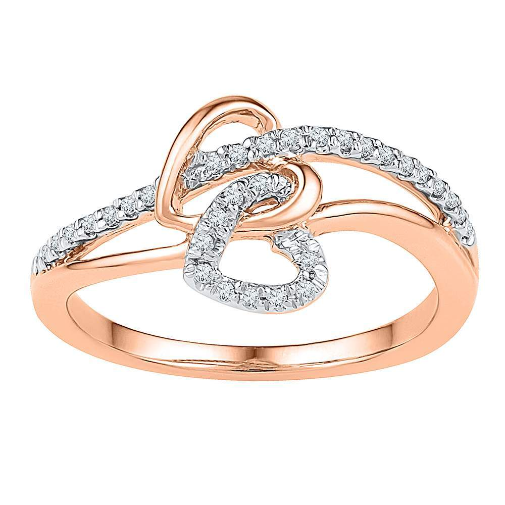 10kt Rose Gold Womens Round Diamond Double Joined Heart Ring 1/5 Cttw