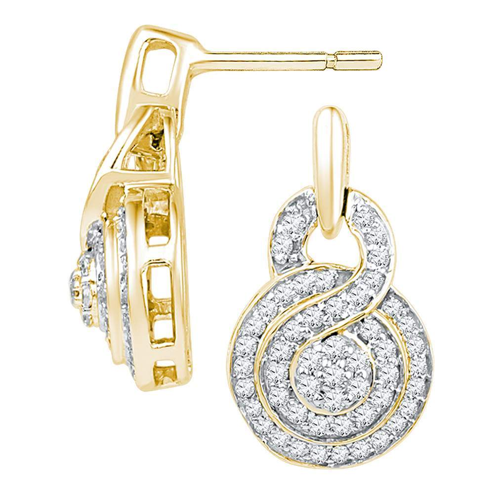 10kt Yellow Gold Womens Round Diamond Concentric Circle Cluster Earrings 1/2 Cttw