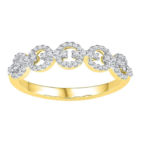 10kt Yellow Gold Womens Round Diamond Linked Band Ring 1/4 Cttw