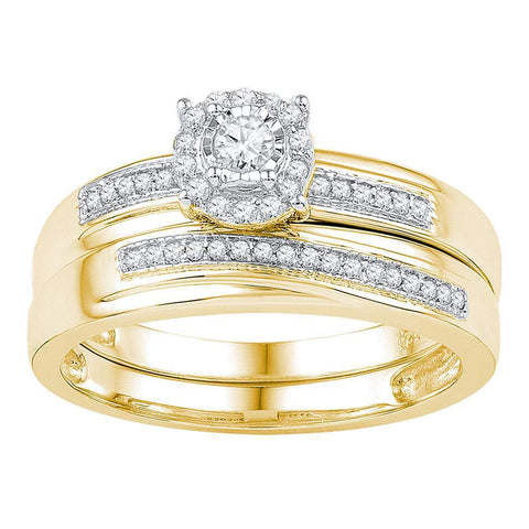 10k Yellow Gold Womens Round Diamond Bridal Wedding Engagement Ring Band Set 1/4 Cttw