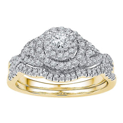 14k Yellow Gold Womens Round Diamond Bridal Wedding Engagement Ring Band Set 5/8 Cttw