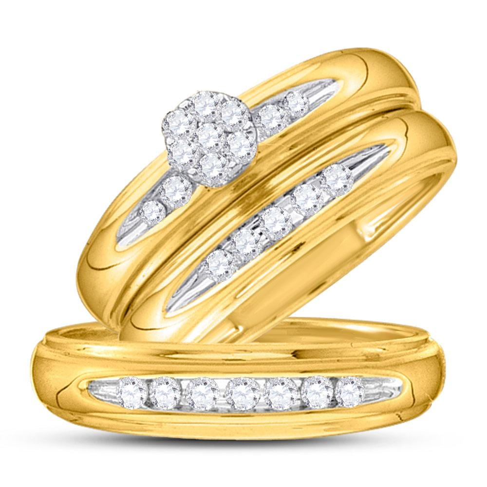 14kt Yellow Gold His & Hers Round Diamond Cluster Matching Bridal Wedding Ring Band Set 3/8 Cttw