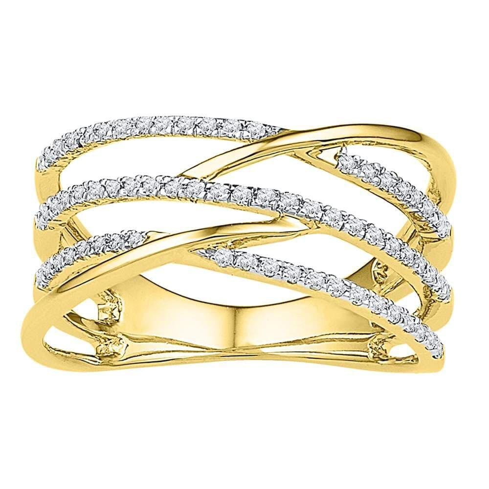 10kt Yellow Gold Womens Round Diamond Triple Row Openwork Crossover Band Ring 1/3 Cttw