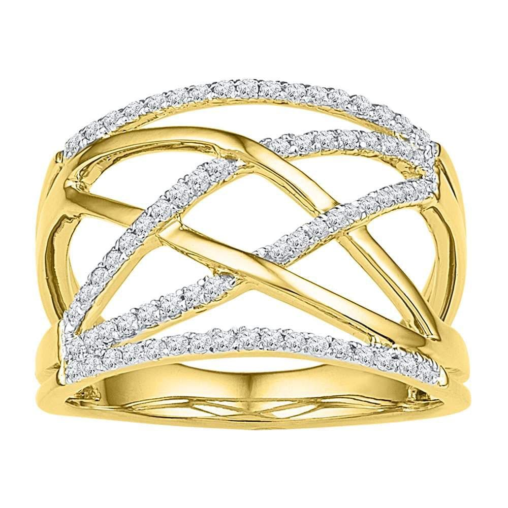 10kt Yellow Gold Womens Round Diamond Crisscross Crossover Band Ring 1/3 Cttw