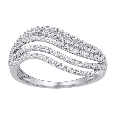 10kt White Gold Womens Round Diamond Striped Band Ring 1/2 Cttw