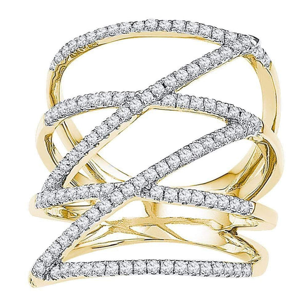 10kt Yellow Gold Womens Round Diamond Crossover Strand Fashion Band Ring 1/2 Cttw