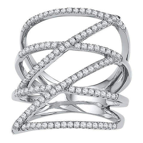 10kt White Gold Womens Round Diamond Crossover Strand Fashion Band Ring 1/2 Cttw