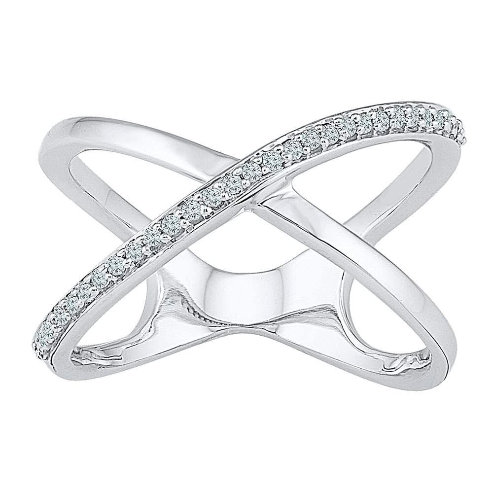 10kt White Gold Womens Round Diamond Open Crossover Band Ring 1/6 Cttw