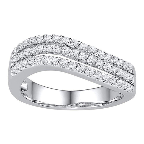 10kt White Gold Womens Round Diamond Triple Row Contoured Band Ring 1/2 Cttw