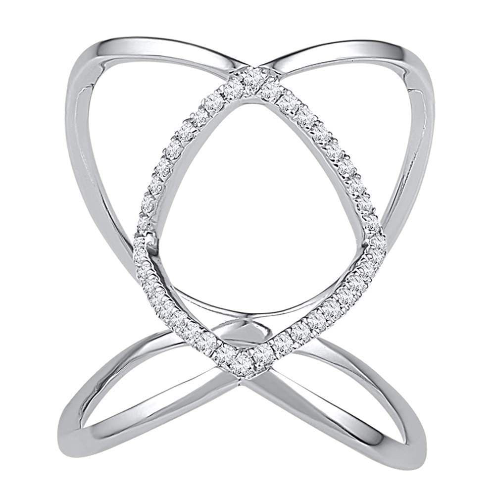 10kt White Gold Womens Round Diamond Open Strand Knuckle Fashion Ring 1/6 Cttw