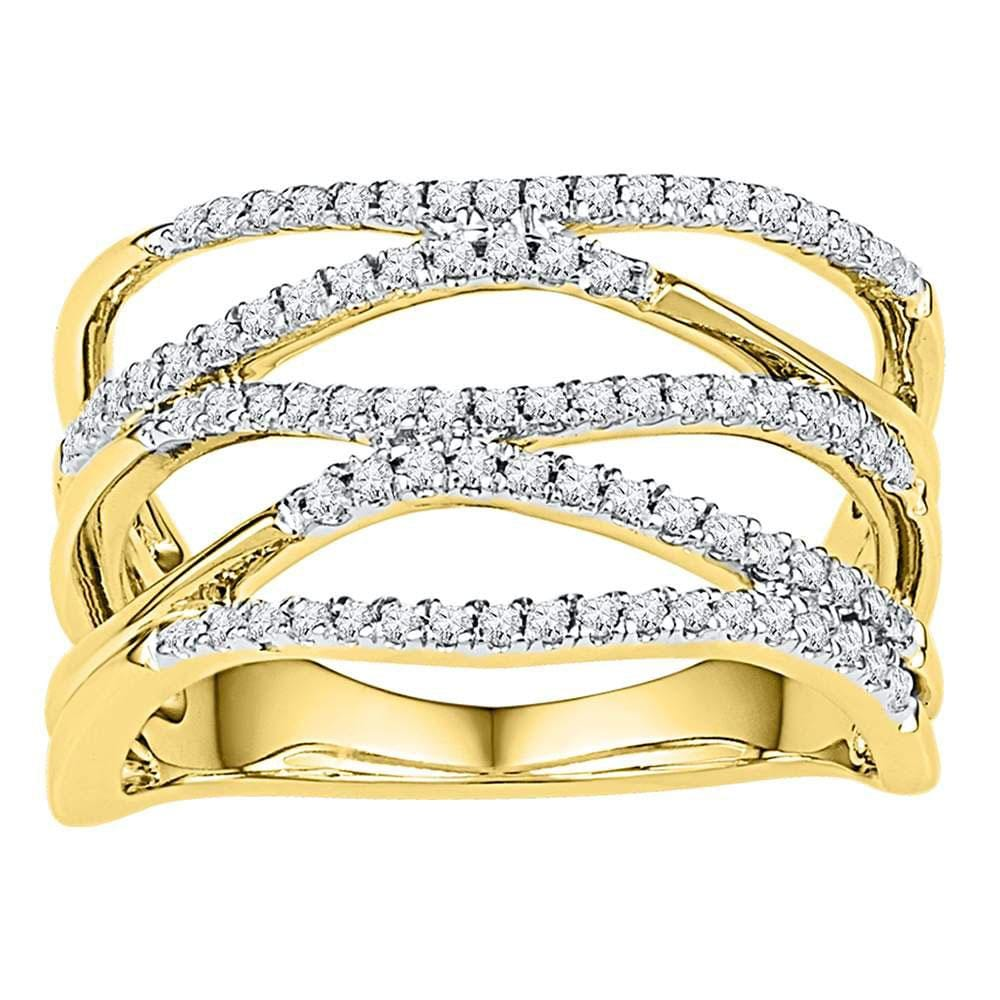 10kt Yellow Gold Womens Round Diamond Open Strand Band Ring 3/8 Cttw
