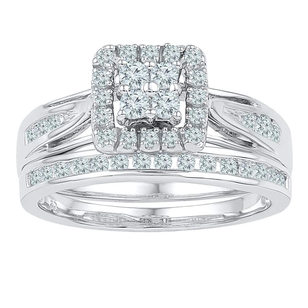 14kt White Gold Round Diamond Bridal Wedding Ring Band Set 1/2 Cttw