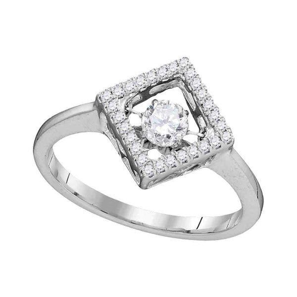 14kt White Gold Womens Round Diamond Moving Twinkle Solitaire Diagonal Square Ring 1/5 Cttw