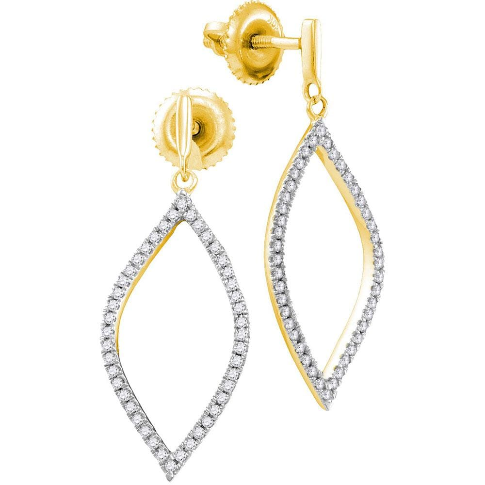 10kt Yellow Gold Womens Round Diamond Oblong Oval Dangle Earrings 1/5 Cttw