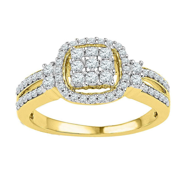 10kt Yellow Gold Womens Round Diamond Cushion-frame Cluster Split-shank Ring 1/2 Cttw