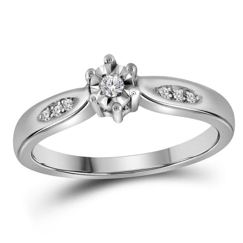 Sterling Silver Womens Round Diamond Solitaire Bridal Wedding Engagement Ring 1/20 Cttw - Size 11