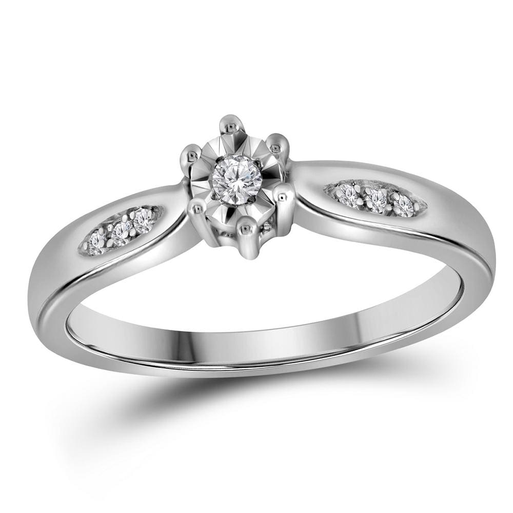 Sterling Silver Womens Round Diamond Solitaire Bridal Wedding Engagement Ring 1/20 Cttw - Size 6