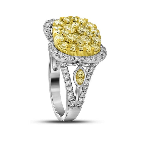 14kt White Gold Womens Round Canary Yellow Diamond Cluster Ring 1-5/8 Cttw