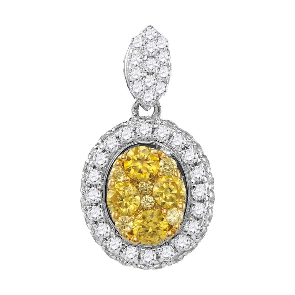 14kt White Gold Womens Round Canary Yellow Diamond Oval Cluster Pendant 1 Cttw