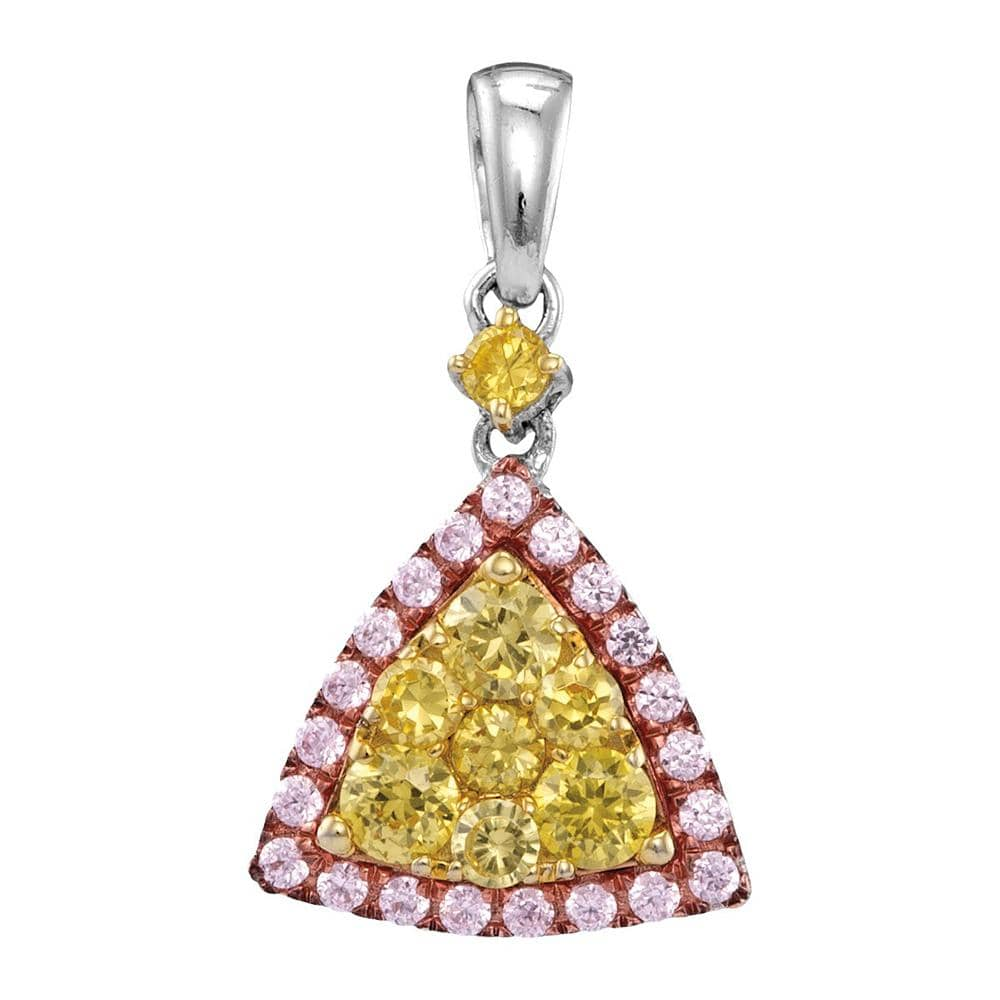 14kt White Gold Womens Round Yellow Pink Diamond Triangle Frame Cluster Pendant 5/8 Cttw